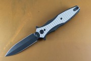 Rick Hinderer Maxiums Double Edge Flipper Black Out Textured Titanium Scales
