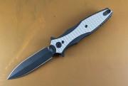 Rick Hinderer Maxiums Double Edge Flipper Black Out Textured Titanium Scales