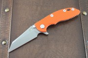 Rick Hinderer XM-18 3.0 Wharncliffe Flipper - Working Finish Titanium Framelock - Orange G-10 Scale