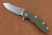 Hinderer XM-18 3.0 Flipper - Stonewash Plain Edge CPM-20CV Skinner Blade - OD Green Scale
