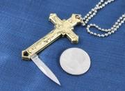 Brass Cross Knife Necklace