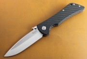 Southern Grind Bad Monkey - Satin Plain Edge Drop Point Blade - Carbon Fiber Handle Scales - SG02030008