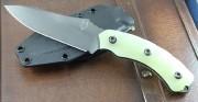 Southern Grind Jackel - 8670M High Carbon Gun Metal Blade - Sculpted Jade Ghost Green G-10 Handle - Black Kydex Sheath - SG0507030401