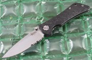 Southern Grind Spider Monkey - Satin Finished Partially Serrated S35VN Drop Point Blade - Carbon Fiber Handle Scales - SG06040008