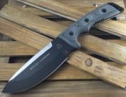 TOPS Outpost Command - Black 1095 Carbon Alloy Blade - Micarta Handle Scales - Nylon Sheath - OC01