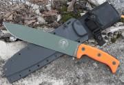 ESEE Junglas Fixed Blade - Olive Drab 1095 High Carbon Plain Edge Drop Point Blade - Orange G-10 Handle Scales - Black Kydex Sheath
