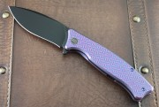 We Knife Balaenoptera Rainbow Anodized Titanium Framelock Flipper - Black Bohler M390 Plain Edge Blade