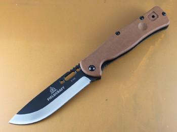 TOPS Fieldcraft Folder - Black Cerekote 1095 High Carbon Drop Point Blade - Canvas Micarta Handle Scales - Premium Leather Belt Sheath