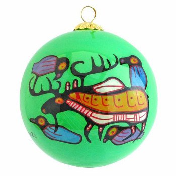 Norval Morrisseau: Moose Harmony Glass Ornament