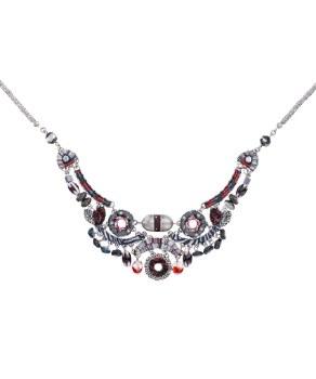 Ayala Bar: Bib Necklace - Night Arabella Black + Red