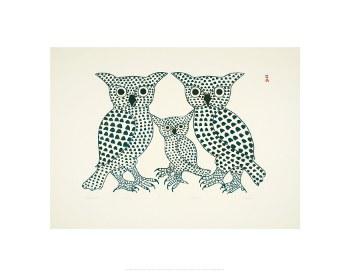 "Kenojuak Ashevak: Winter Owls 11"" x 14"""