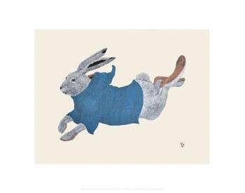 """Tim Pitsiulak: Qimaajuq Ukali (Running Rabbit) 11"""" x 14"""""""