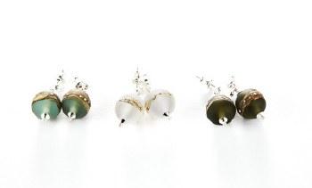 Bijouxbead: Glass Sphere Post Earring - Green