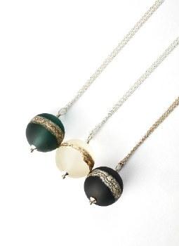 Bijouxbead: Glass Sphere Pendant Necklace - Green