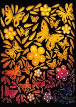 Betty Albert: Flowers and Butterflies I Matted Print