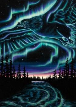 Amy Keller-Rempp: Sky Dance - Eagles Over The Sky Matted Print