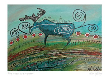 Alan Syliboy: Blue Moose Meadow Matted Print