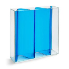 MOMA Corrugated Vase - Clear & Blue