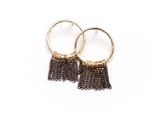 Olympia Fringe Hoop Earrings - Black + Gold