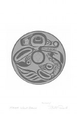 Bill Reid: Haida Wolf Drum, Matted Print