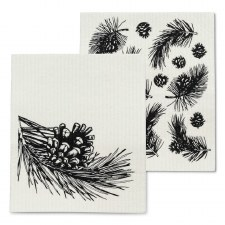Pinecone and Branch Dishcloth Set