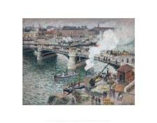 Camille Pissarro: Le Pont Boieldieu à Rouen, soleil couchant - 11x14
