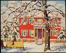 Lawren S. Harris: Red House and Yellow Sleigh, 1919