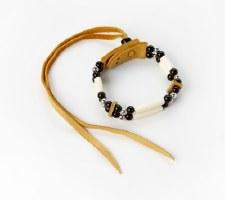 Sharon Kiyoshk-Burritt: Bone Bead Leather Bracelet