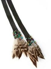 Sharon Kiyoshk-Burritt: Deer Skin, Feather & Bead Neck Wrap