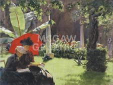 """Charles Curran: Afternnon In The Cluny Garden - 11"""" x 14"""""""