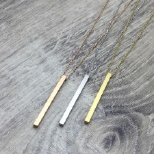 jj + rr - Long Bar Necklace Brushed Rose Gold