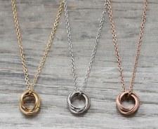jj + rr - Triple Ring Necklace Brushed Rose Gold