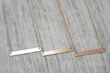 jj + rr - Luxe Bar Necklace Brushed Silver