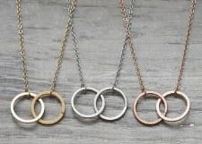jj + rr Double Circle Necklace Silver