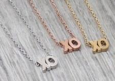 jj + rr  Brushed XO Necklace Gold