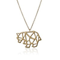 jj + rr Origami Polar Bear Necklace - Gold