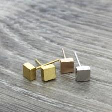 jj + rr - Brushed Square Earrings - Rose Gold