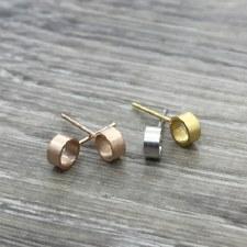 jj + rr - Brushed 3D Circle Earrings - Silver