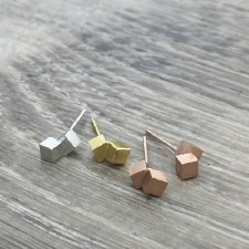 jj + rr - Brushed Dbl Cube Earrings - Rose Gold