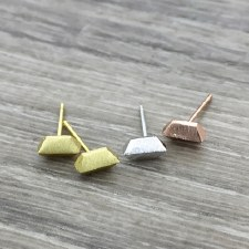 jj + rr - Brushed Geo Bar Earrings- Rose Gold