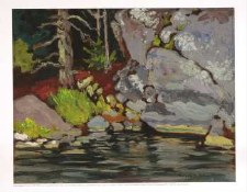 Frank Johnston: Lichen Covered Rocks, Bryce`s Island, Lake of the Woods