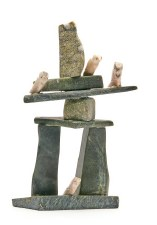 "Sculpture by Gyta Eqaluk: ""Inukshuk with Birds"""
