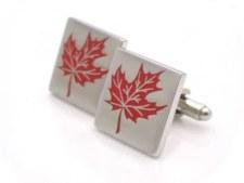 Kinzoku  Cufflink: Maple Leaf Red