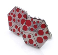 Kinzoku Cufflinks: Polka Dot Red
