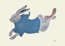 Tim Pitsiulak: Running Rabbit Matted Print