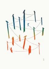 Arnaqu Ashevak: Town Ravens, Matted Print