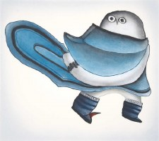 Teevee Ningeokuluk: Owl In Amauti Matted Print