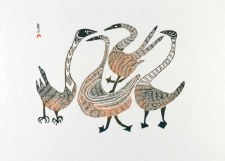 Pitseolak Ashoona: Dancing Birds Matted Print