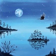 William Monague: Night Flight - Blue Heron Matted Print