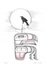 Charles Silverfox: Raven Matted Print